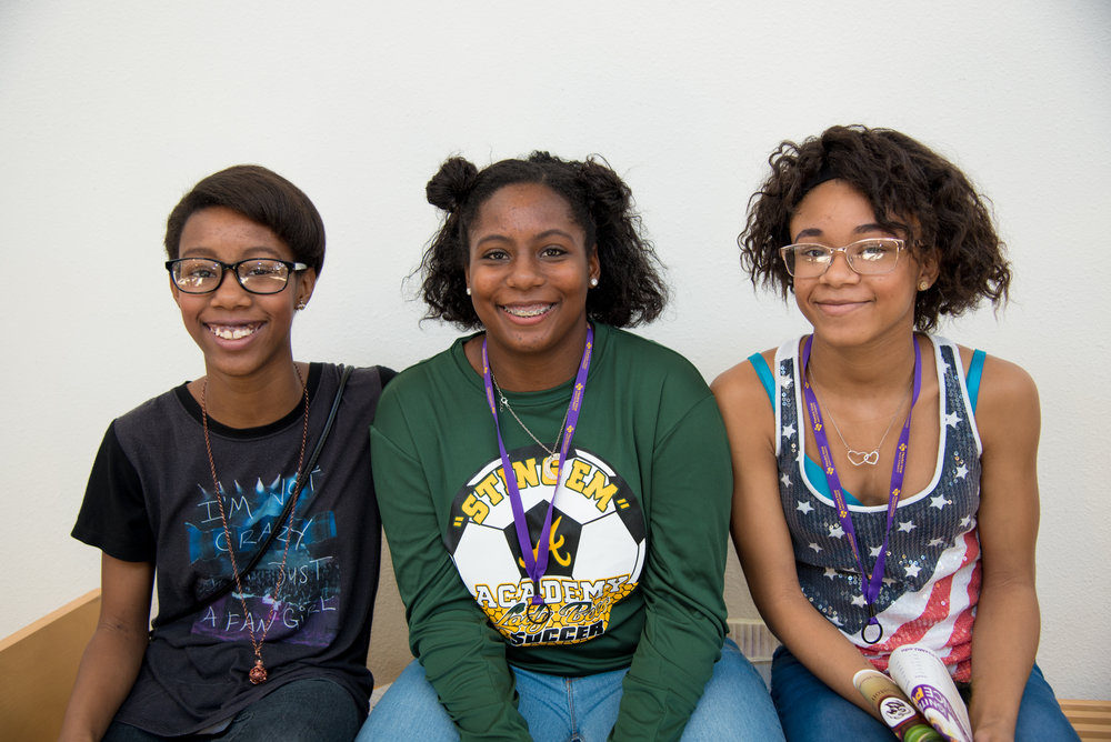 "Left to right: Xzoriah, Jhezyniah, Zataeyiah  ""Today kids are able to do stuff without being told they can't or that they don't belong."" Zataeyiah, age 13  ""Today is about kids being able to do what they feel to do and hang out with their friends and family."" Jhezyniah, age 15  ""Today is about kids respecting their elders and them doing the same."" Xzoriah, age 14"