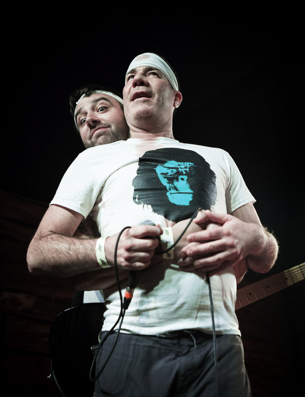 Guttermouth's Mark Adkins (vocals) and Matt Wills (guitar) gave each other and their fans some love before their set began.