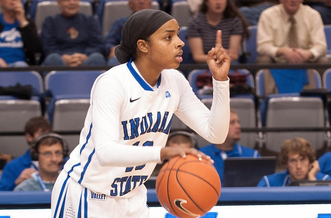 Bilqis Abdul-Qaadir played for Indiana State University during her senior year. Photo courtesy of ISU Athletic Media Relations.