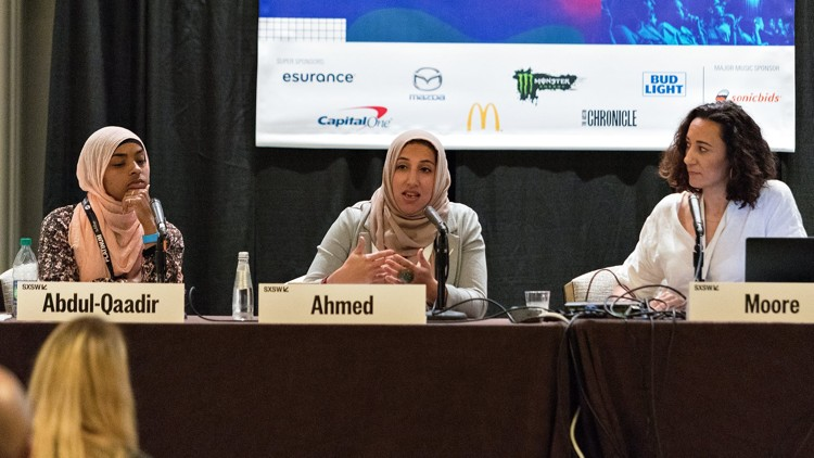 From left, Bilqis Abdul-Qaadir, Shireen Ahmed and Michelle Moore participate in a SXSW panel about Muslim women in sports. Photo courtesy of Daulton Venglar/American-Statesman.