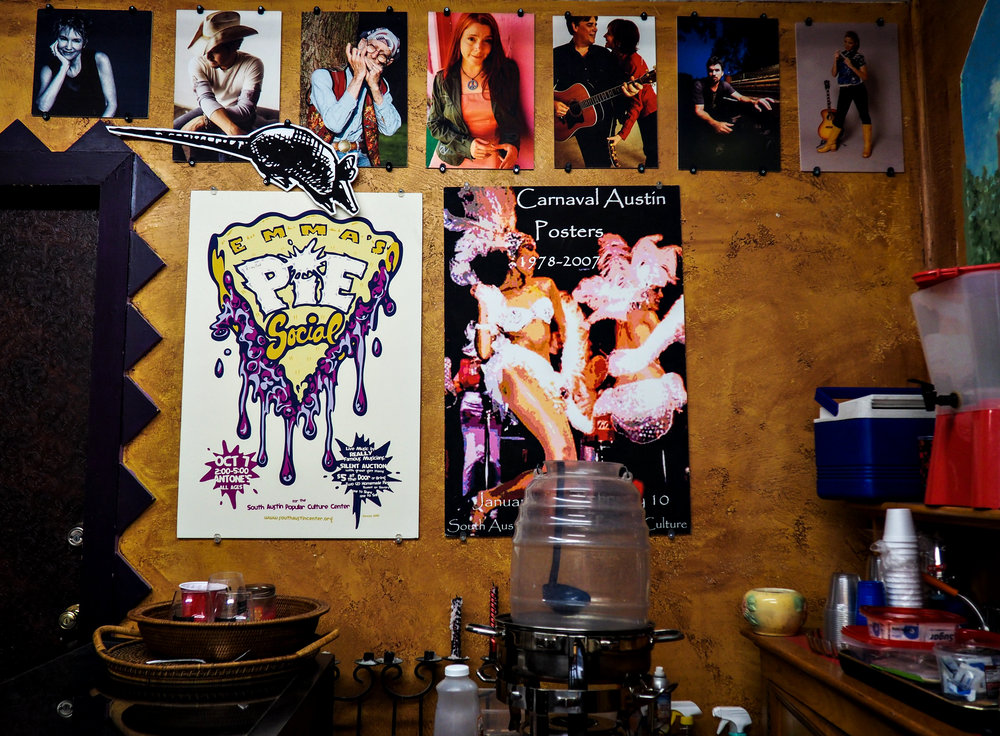 The museum is decorated with posters and pictures of great past artists.