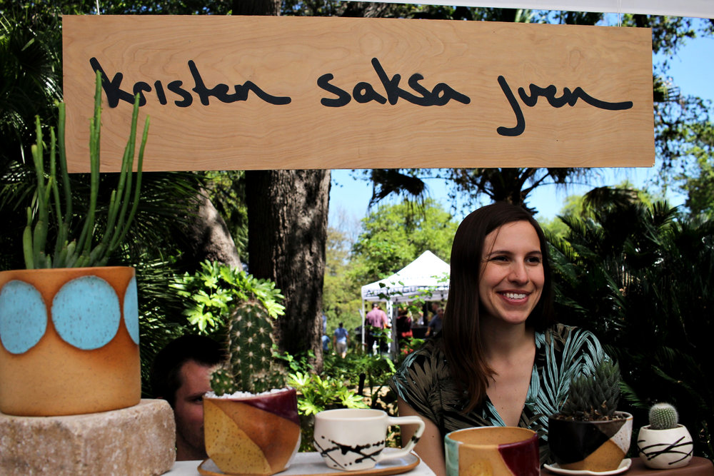 Kristen Saksa Juen is a ceramic artist, designer, and maker. She was one of the vendors at the Zilker Garden Festival.