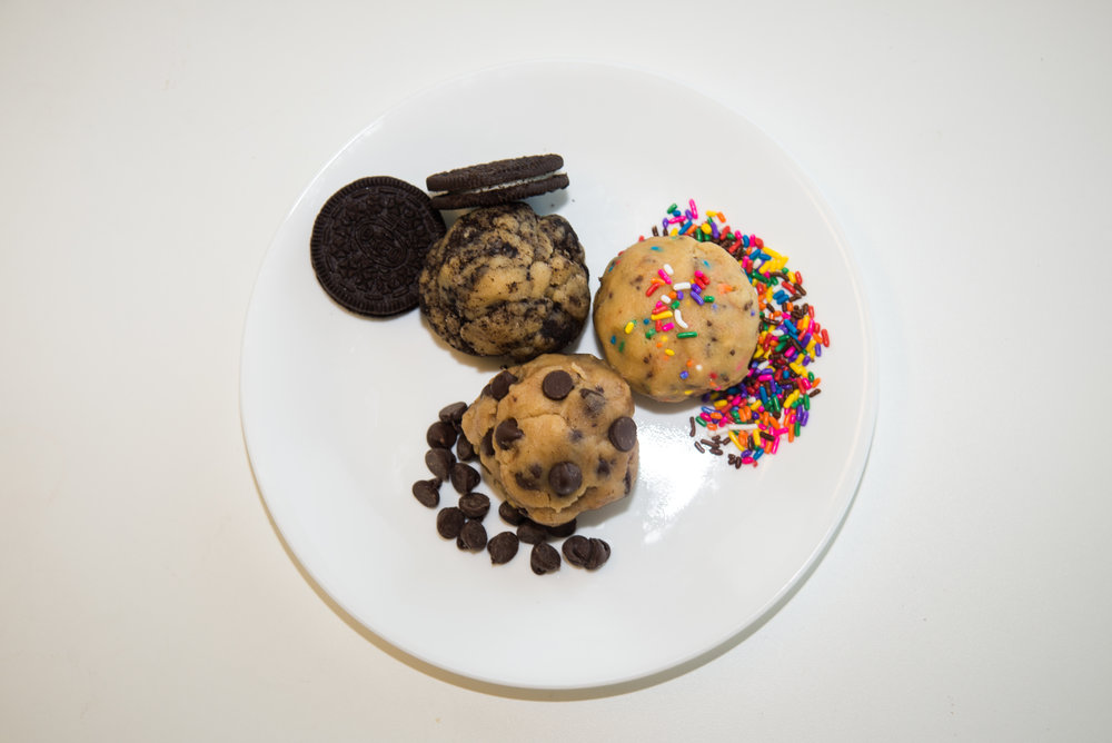 Indulge in the crunchy Oreo, colorful rainbow sprinkle, or chocolate chip edible cookie dough.