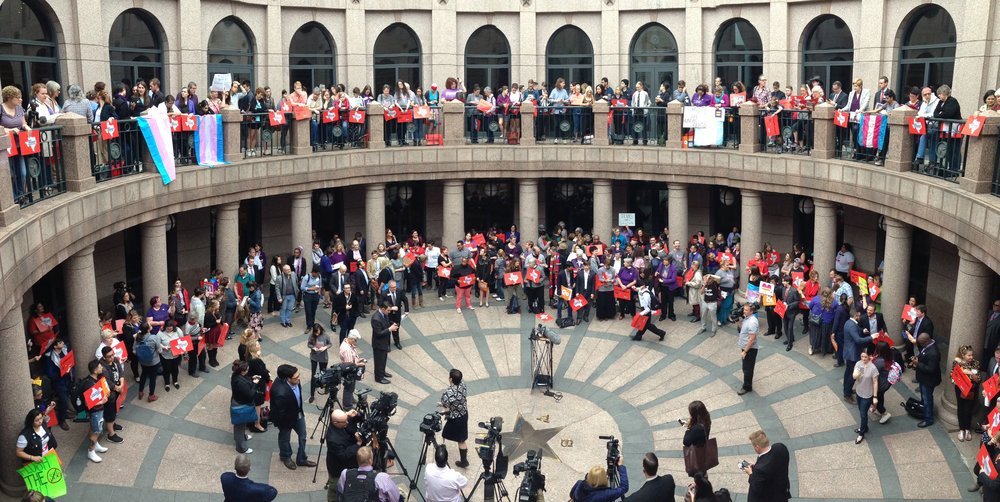 People meet to at a senate hearing to protest SB6, commonly known as the bathroom bill. Photo courtesy of The Texas Observer.