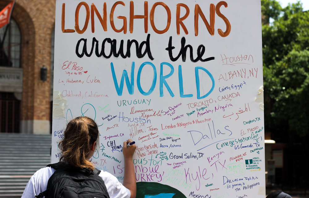 The Diversity and Inclusion Agency of Student Government put together a Longhorns Around the World Board where students can share their diverse identities.