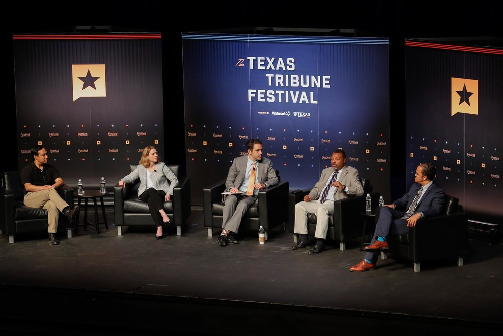 From left to right, Rep. Joaquin Castro, Dr. Kathleen Hicks, Professor Robert Chesney, Malcolm Nance and Rep. Will Hurd speak on national security.