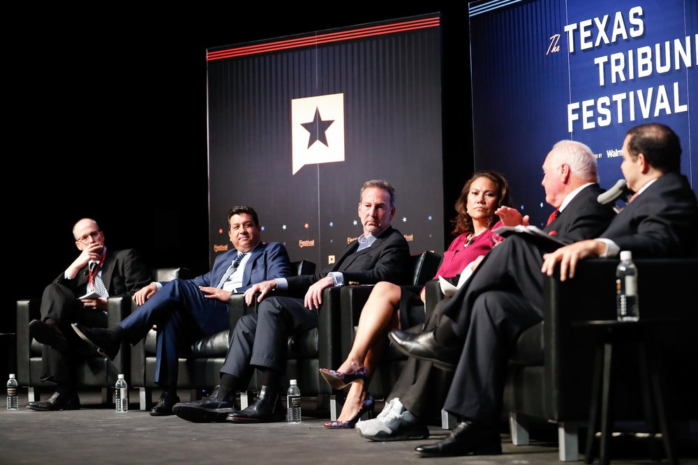 From left to right, reporter Jay Root, Gov. Francisco Cabeza de Vaca, former ambassador Antonio Garza, Texas Agriculture Commissioner Sid Miller and Rep.Henry Cuellar discuss the relationship between the U.S. and Mexico.