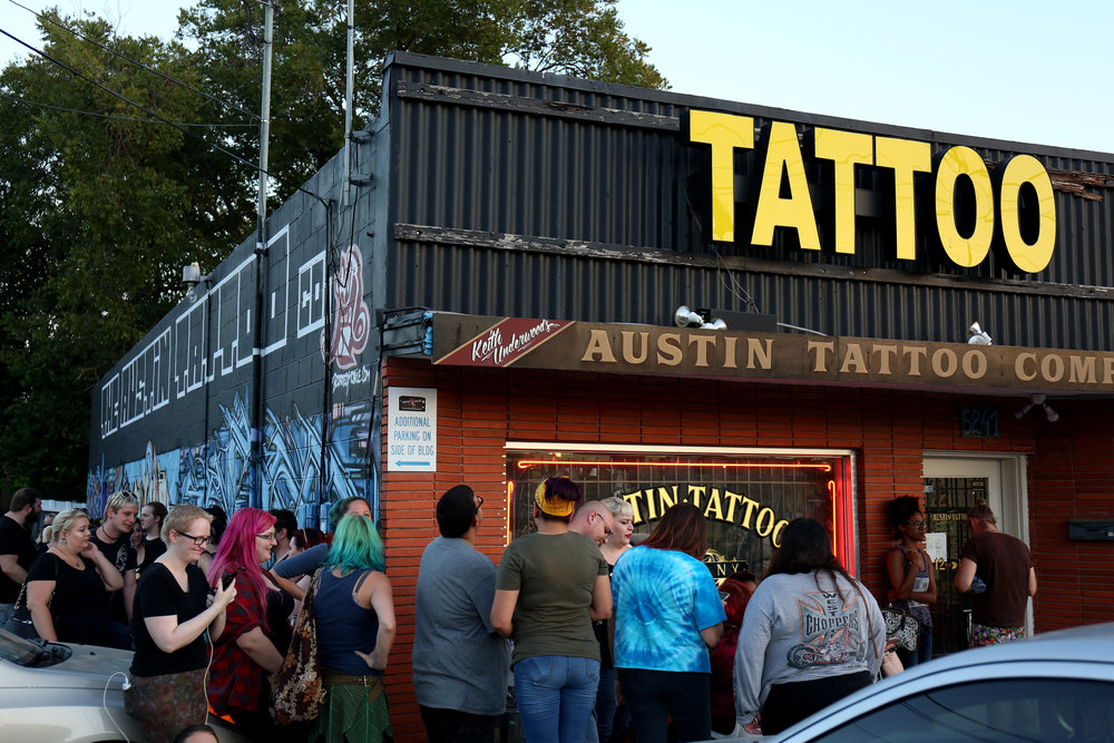 Austin Tattoo Company, which lies on North Lamar past the Triangle, was one of the few local tattoo shops to open at midnight.