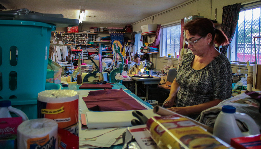 Fuerza Unida runs an all woman sewing co-operative to provide fair wage jobs to women who have lost their jobs due to maquiladoras closing.