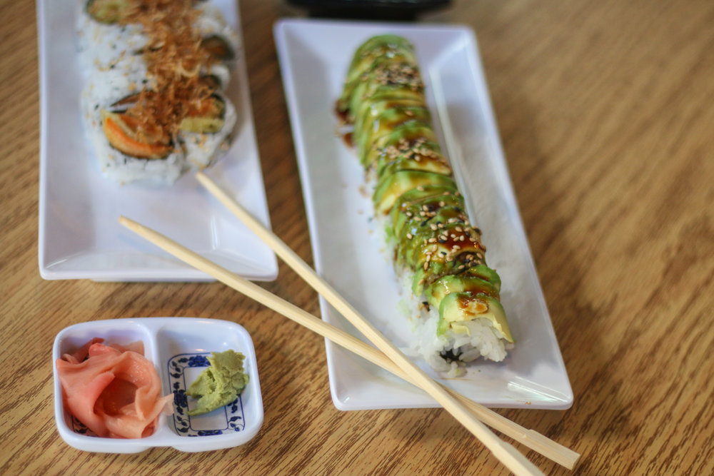 Located in West Campus, Raku Sushi accommodates all types of diets with special rolls including the Sweet Potatoes Roll and Caterpillar Roll.
