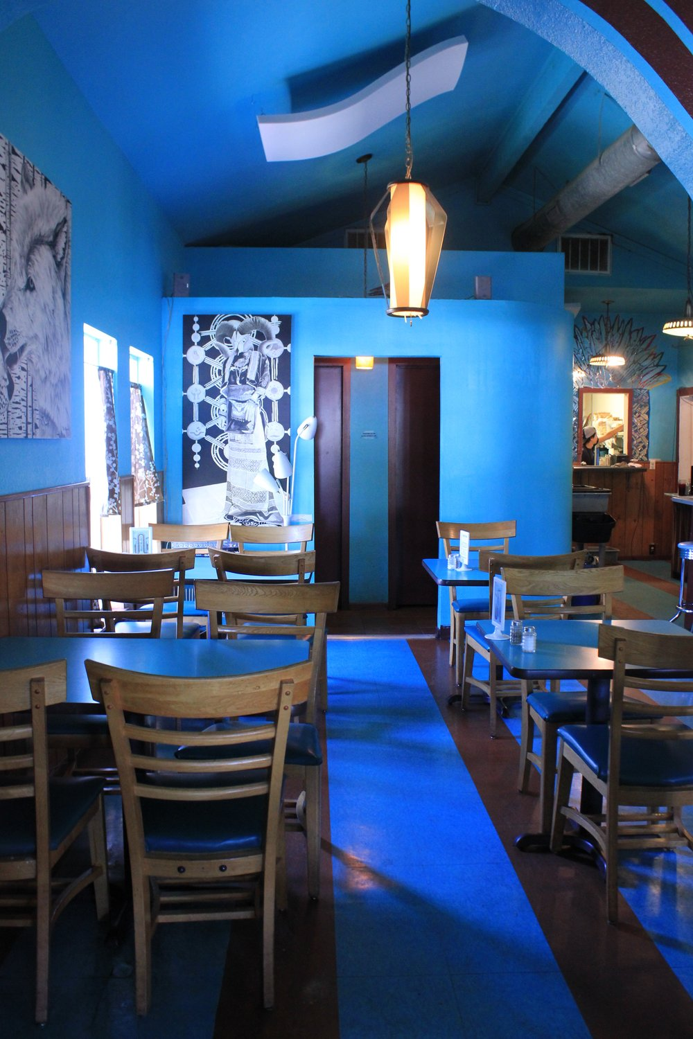 The cool, blue interior makes this spot a great place to hang out and grab some healthy food.