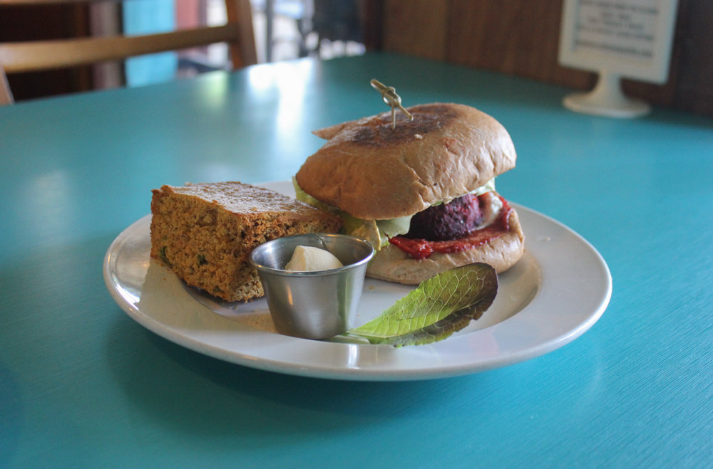 The Beet Walnut Mushroom Burger is among the many delicious options offered at this vegan restaurant.