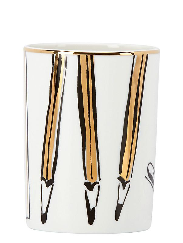 Daisy Place Pencil Cup ($20) - A signature Kate Spade illustrated pattern and gold accents make this pencil cup the perfect piece to bring your desk together. Plus, it will instantly de-clutter your space once you put your pens and pencils in it.