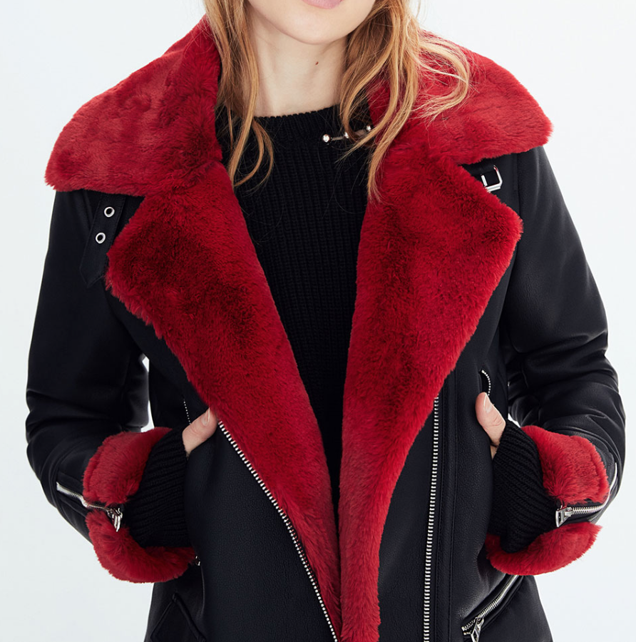 Kendall - Faux Shearling Biker Jacket ($79) - I tend to play it safe with my winter coats by typically buying black just because I value versatility. This biker jacket is absolutely perfect because it looks so comfortable and the touch of red is a game changer.