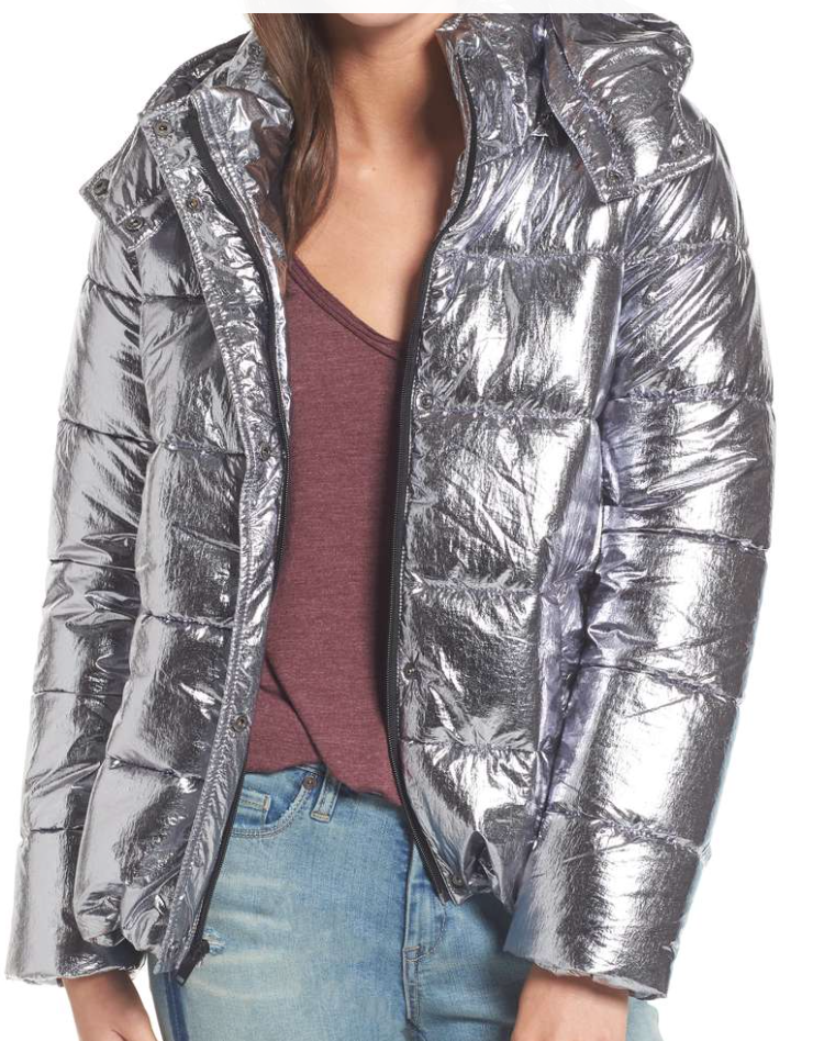 Sara - Short Puffer Jacket ($69) - I love this jacket because it's a classic style, but a bold color. It's cool-toned for winter but will add a fun metallic element to cold weather outfits!