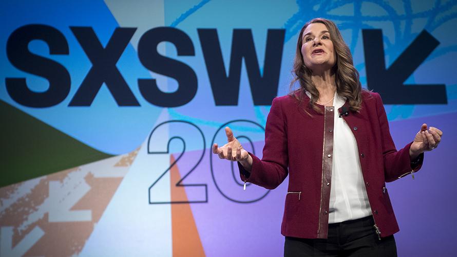 Melinda Gates at her keynote. Photo Courtesy of Austin 360.