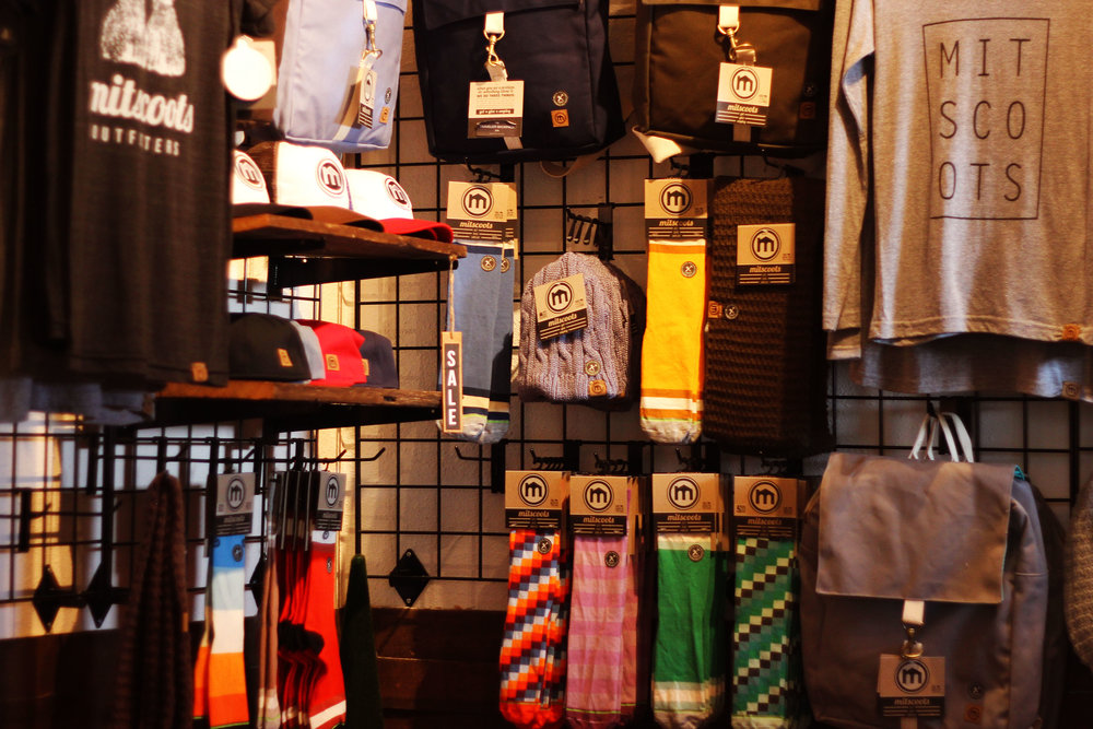 Inside Mitscoots Outfitter's, the shop offers a wide variety of clothing and accessories.