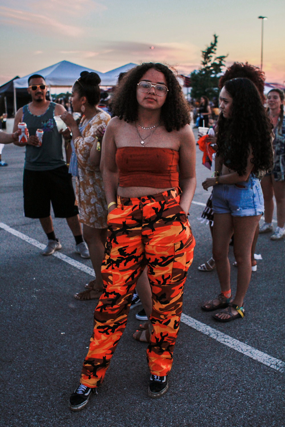 Rocking camo print pants, we love her '90s vibe.