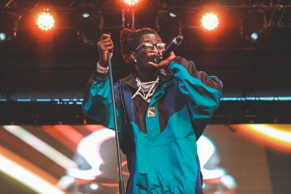 "Young Thug performed hits like ""pick up the phone"" and ""Relationships""."