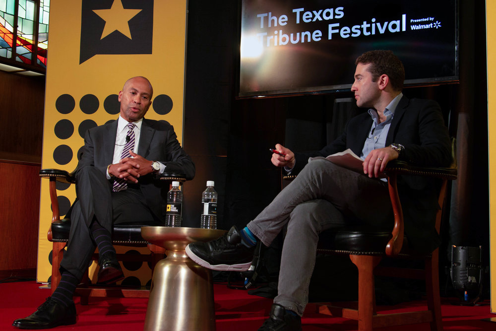Politico reporter Jake Sherman moderated a one-on-one with former Massachusetts governor Deval Patrick.