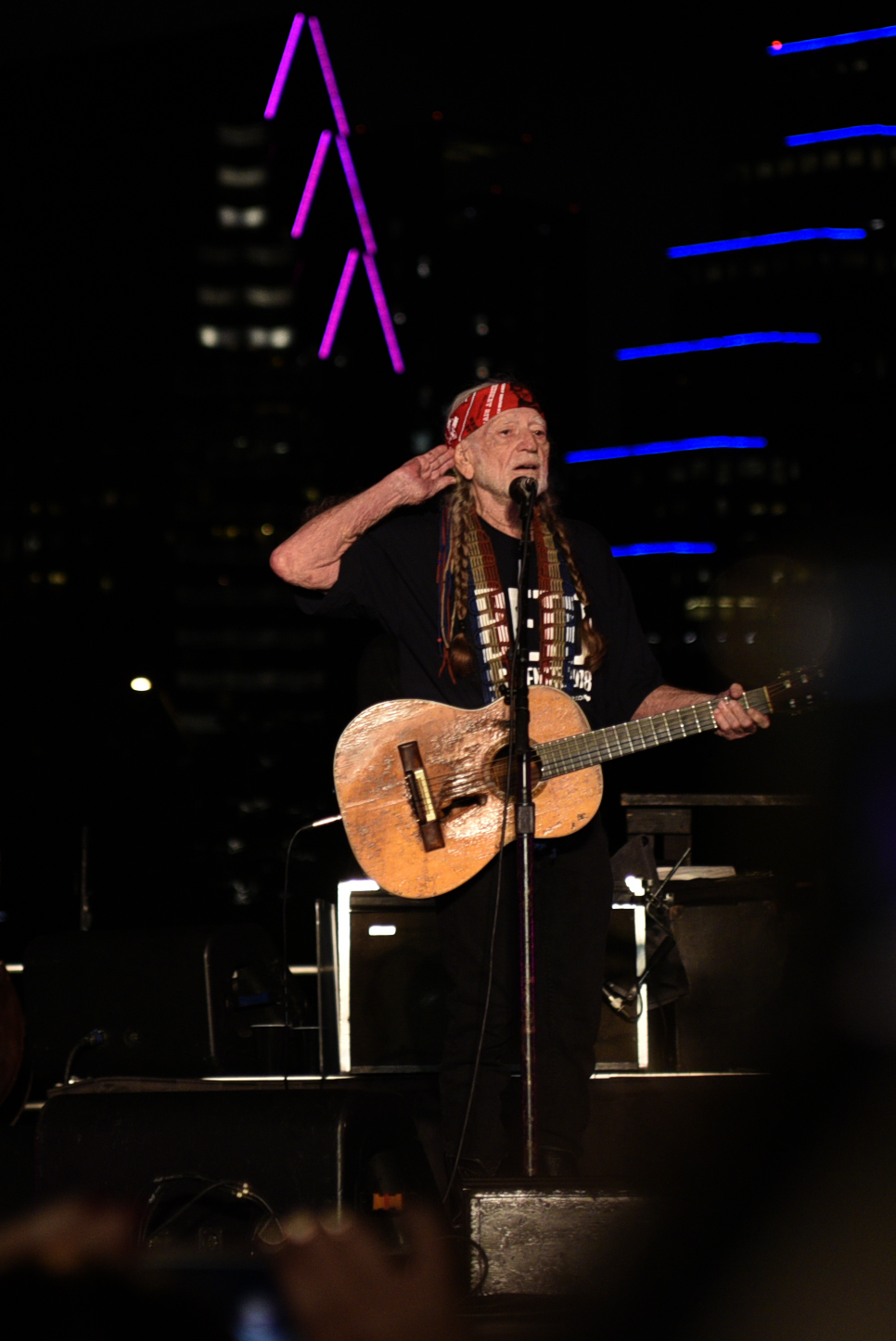 Willie Nelson opens his set with Whiskey River.