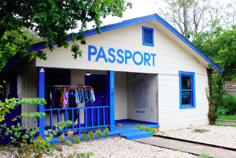 The PASSPORT Vintage storefront adds an extra charm to First Street.