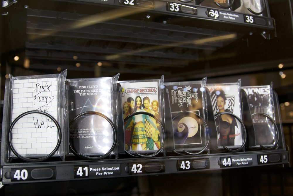 From the Edward Scissor Hands Soundtrack to Nirvana, the vending machine has a wide variety of cassettes to choose from.