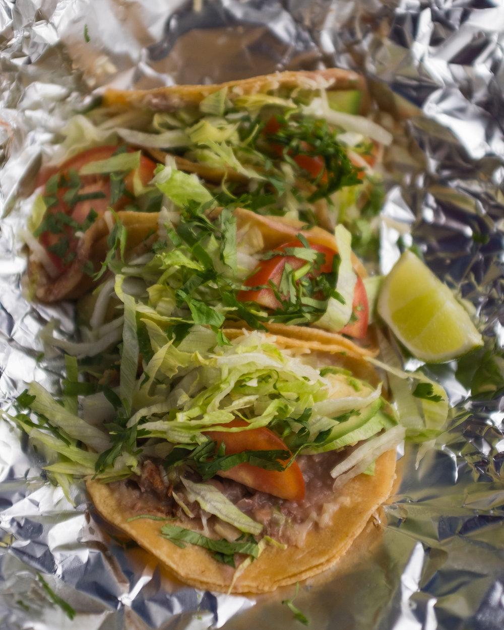 Vegetarian street tacos from Las Trancas