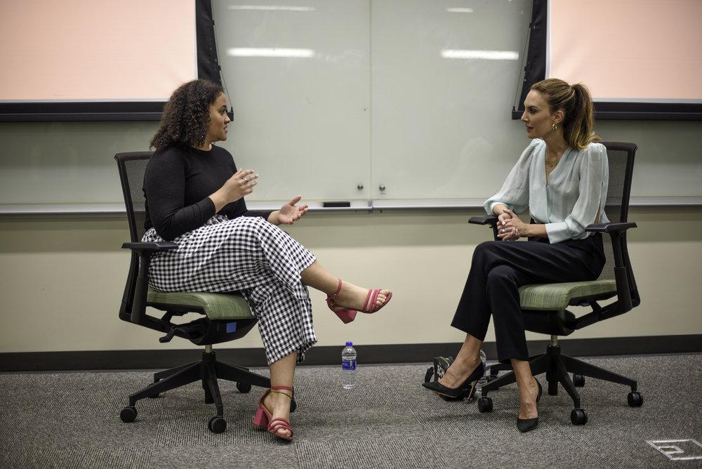 Jacqui Briddell , ORANGE Magazine's managing editor, interviews UT alumna Elizabeth Chambers Hammer at the Belo Center for New Media.