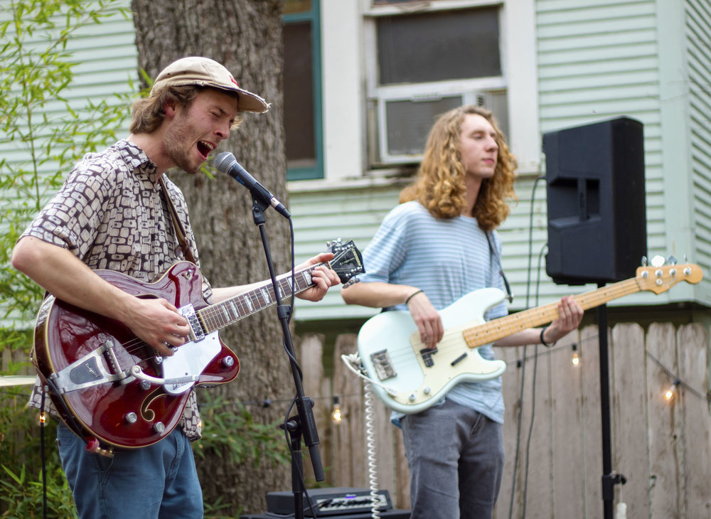 Lead singer Will Clark and bassist Roman Parnell of The Jibs, perform at the PorchFire Fest's outdoor stage.