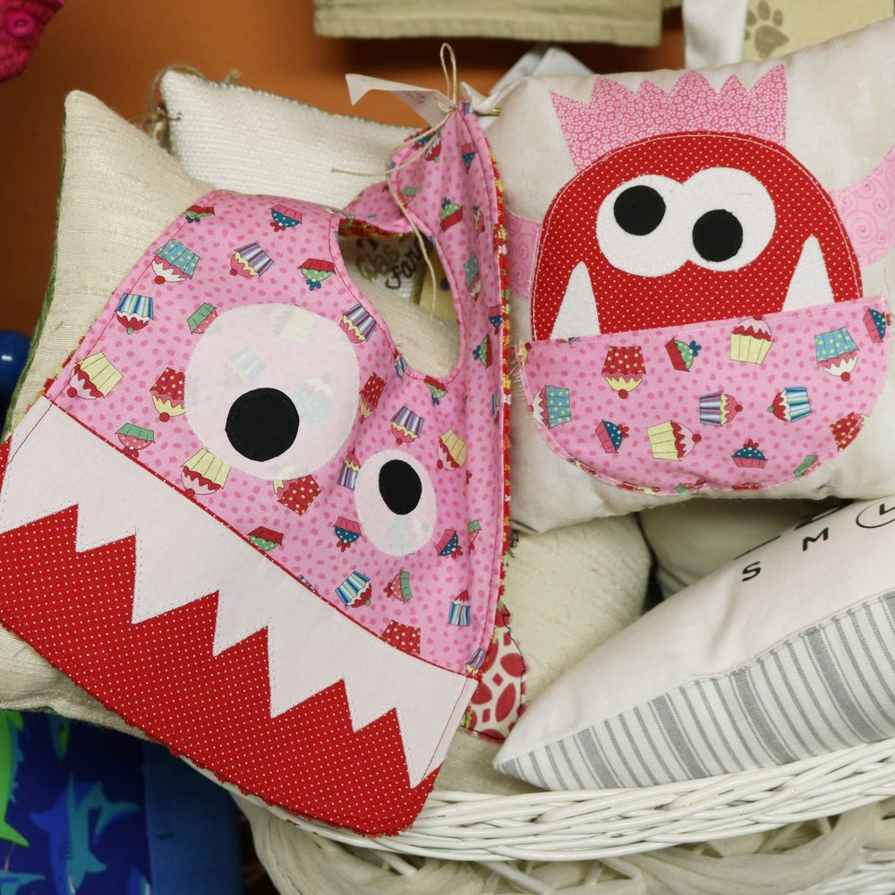 Monster-themed Bib/Tooth Fairy Pillow