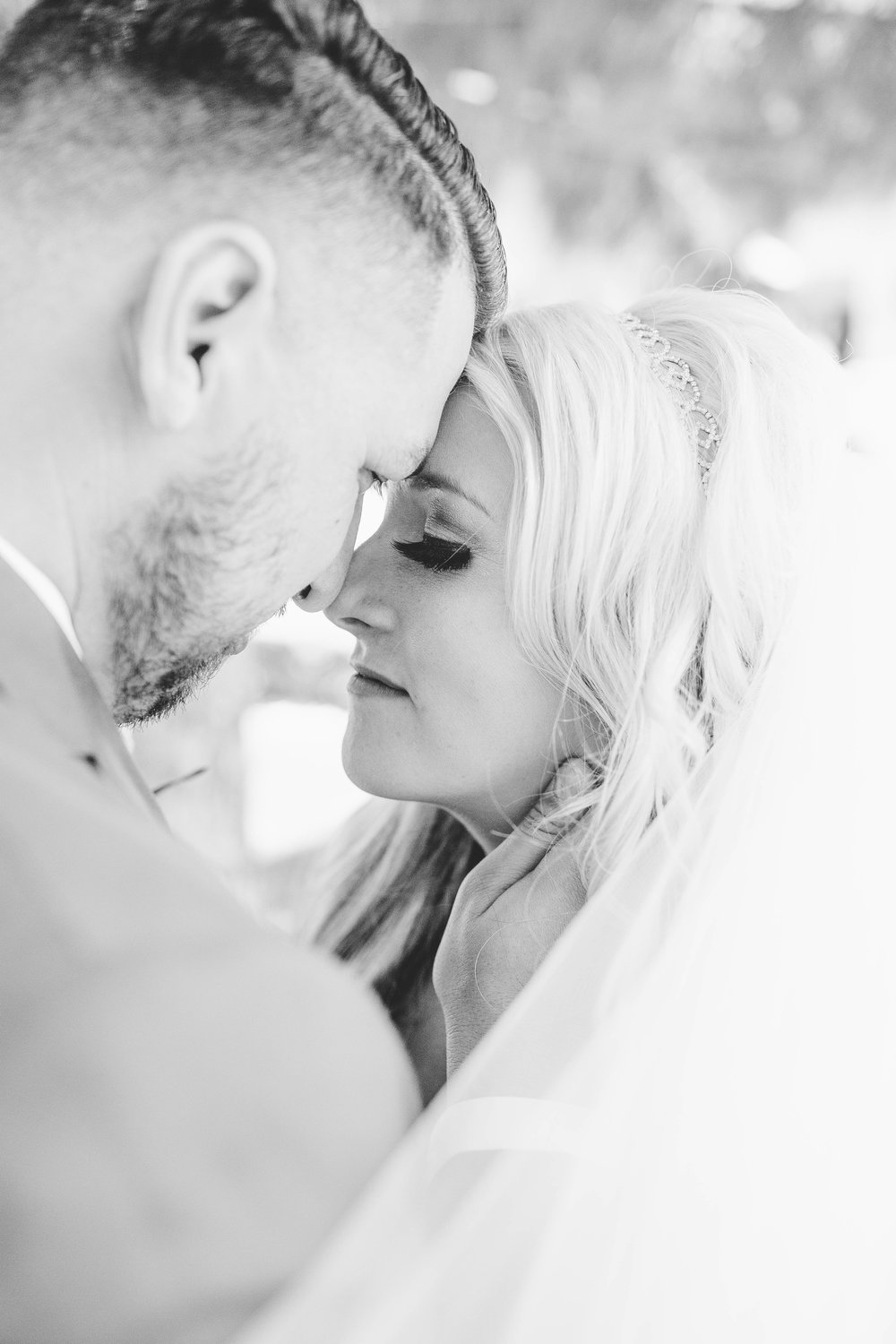 Bride and Groom Black and White Portrait- Arizona Wedding Photographer
