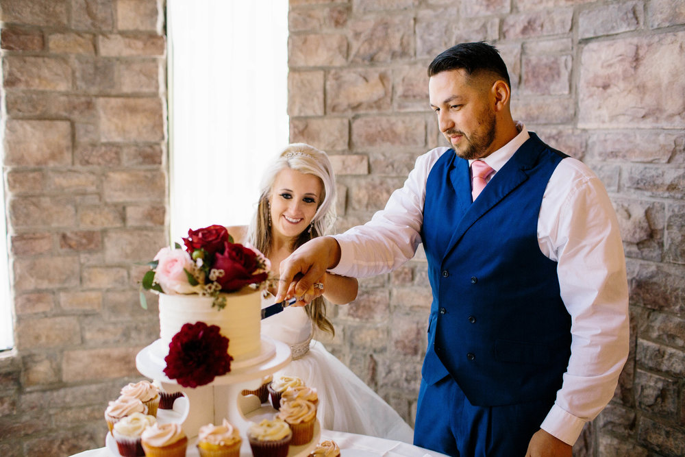 Cake Cutting at the Ashley Castle- Arizona Wedding Photographer