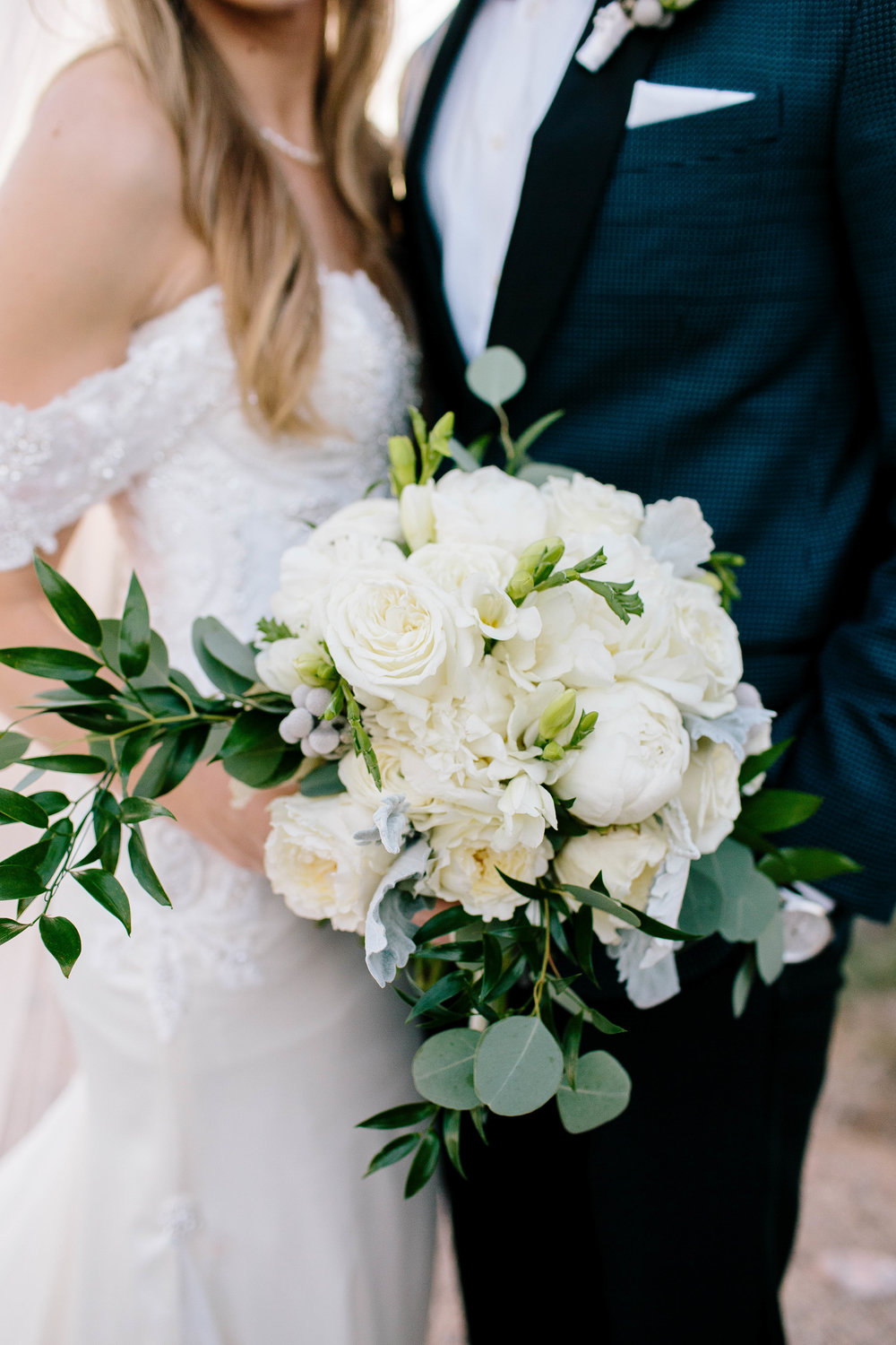 White Bouquet with greenery- Arizona Wedding Photographer