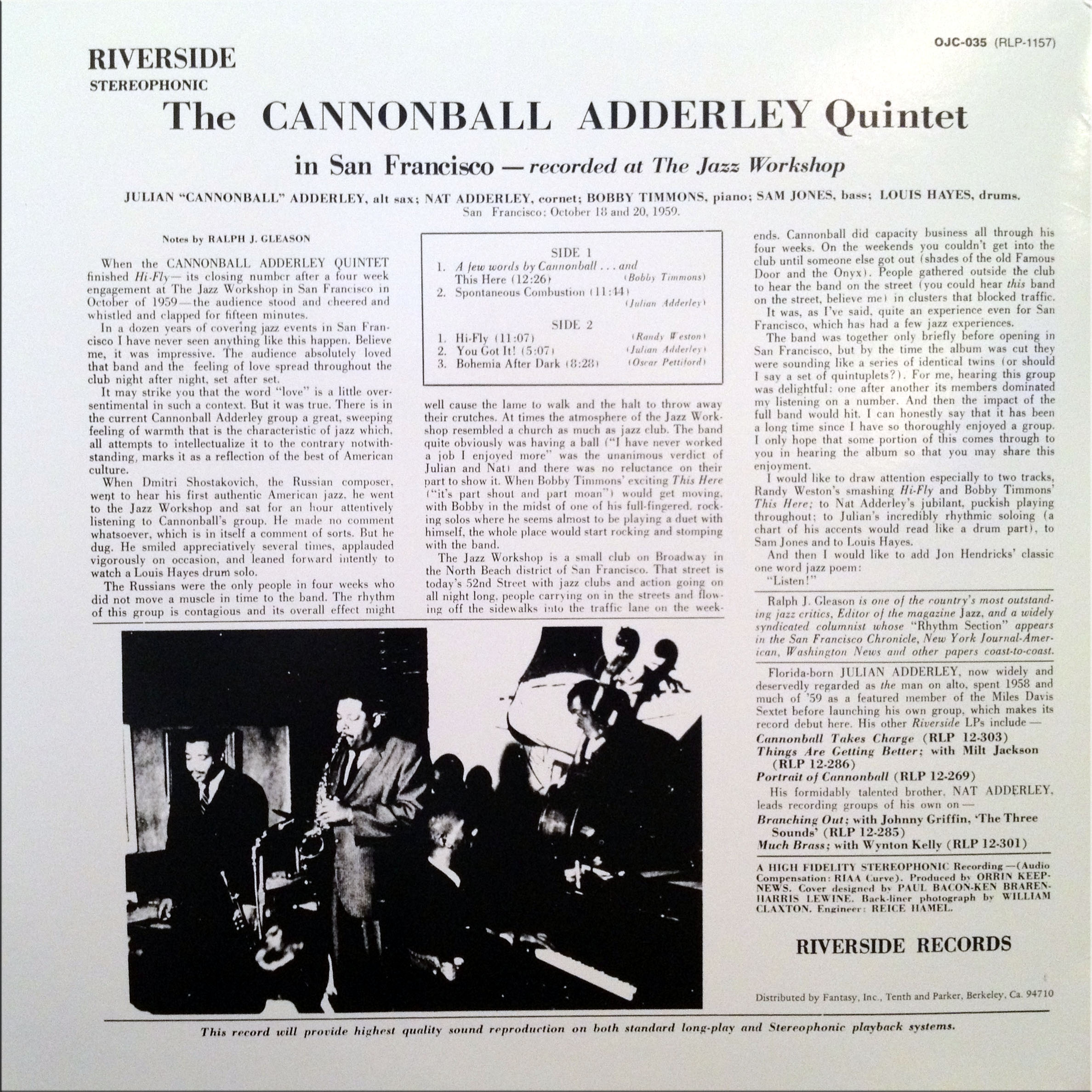 Record Review: The Cannonball Adderley Quintet in San Francisco