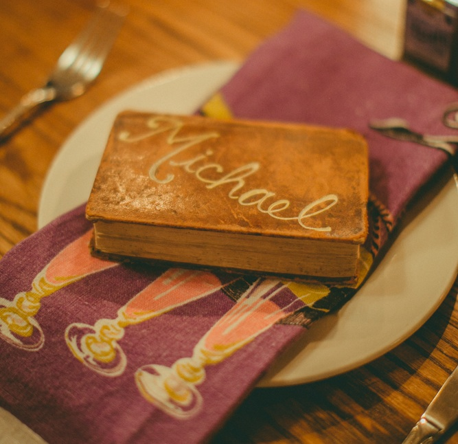 hand-lettered vintage book place card: set the table with style!