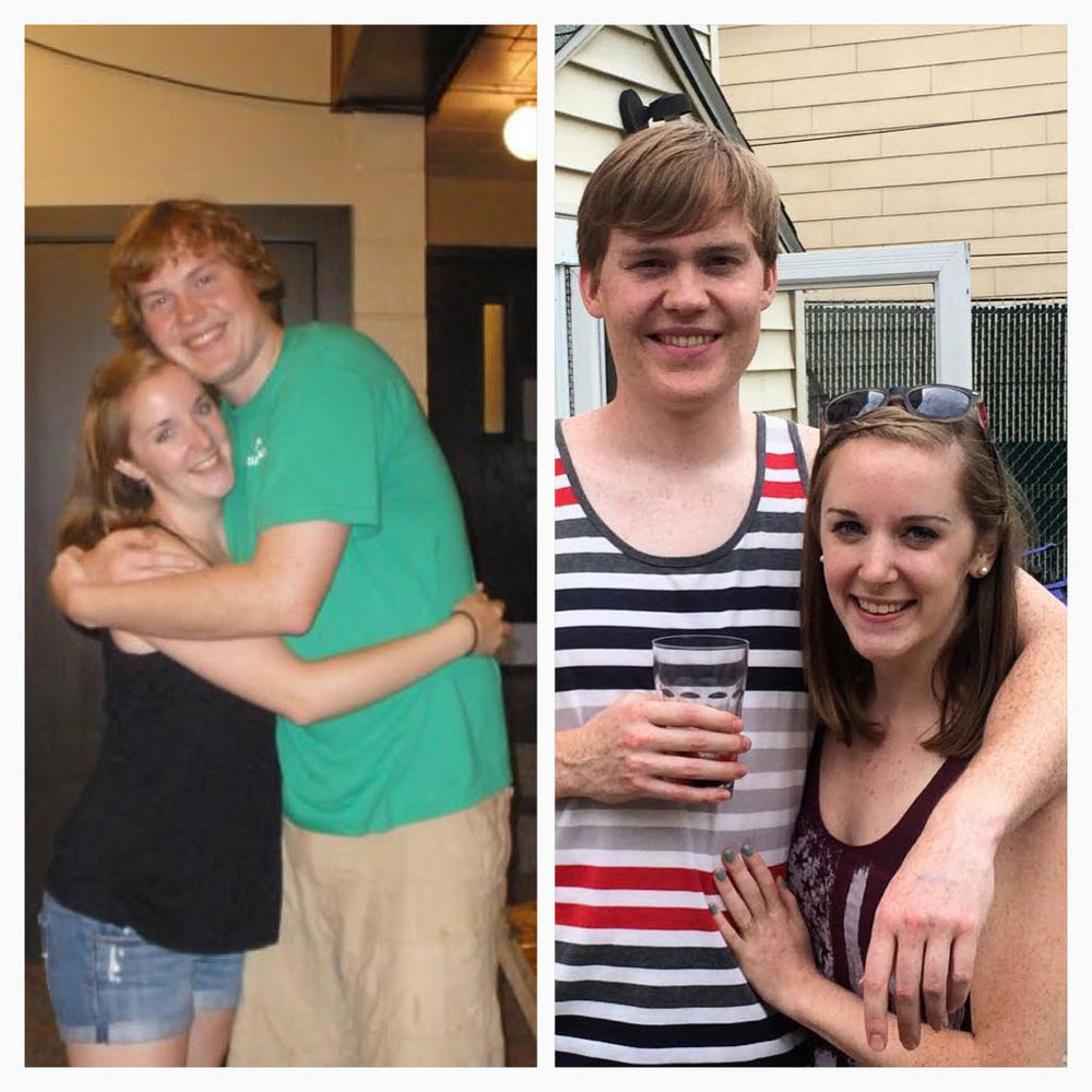 Sean and I four years ago, during the summer we met, and us now!