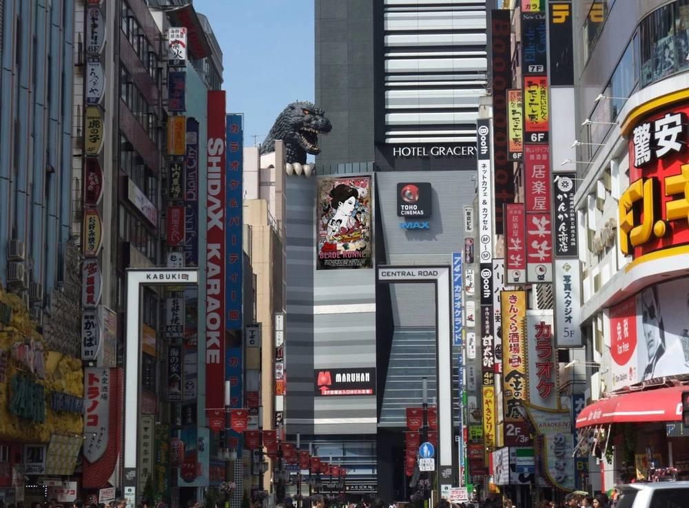 Godzilla  takes a peak at the art |Toho Theater @Shinjuku, Tokyo JP