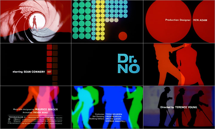 Scenes from the opening of Dr. No by Maurice Binder, from  watchthetitles.com