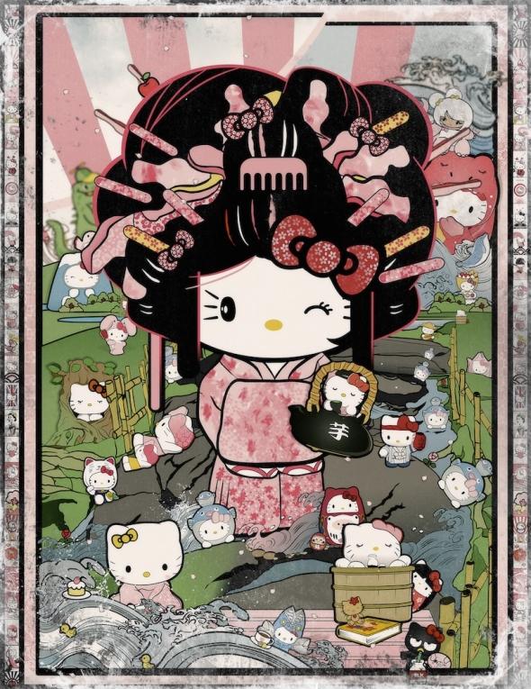 Hello-Kitty-Pop-Art-Japanese-Garden