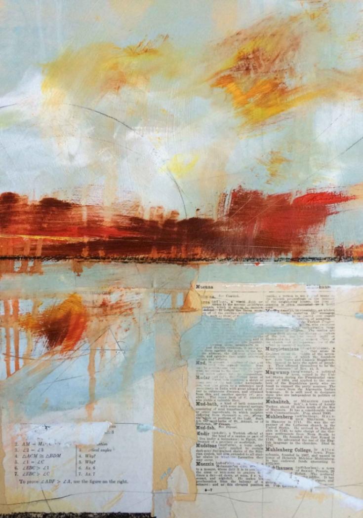 MUD BATH  12 X 18 X 1.5  Oil & Collage on Wood
