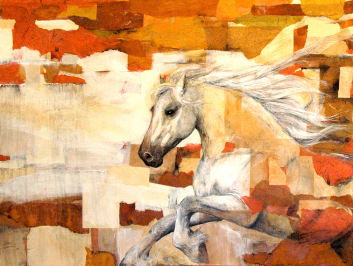 HORSE POWER 2   60 x 48 x 1.5  Mixed Media on Canvas