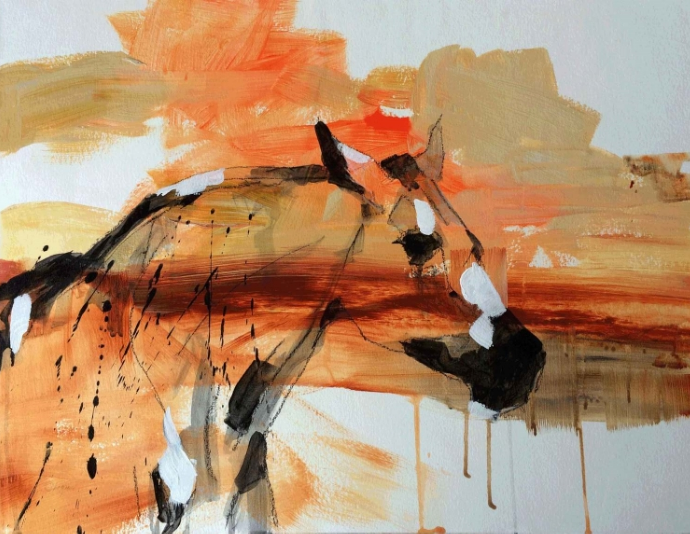 HORSE POWER 4  24 x 18 x 1.5  Acrylic & Charcoal on Paper on Wood Panel