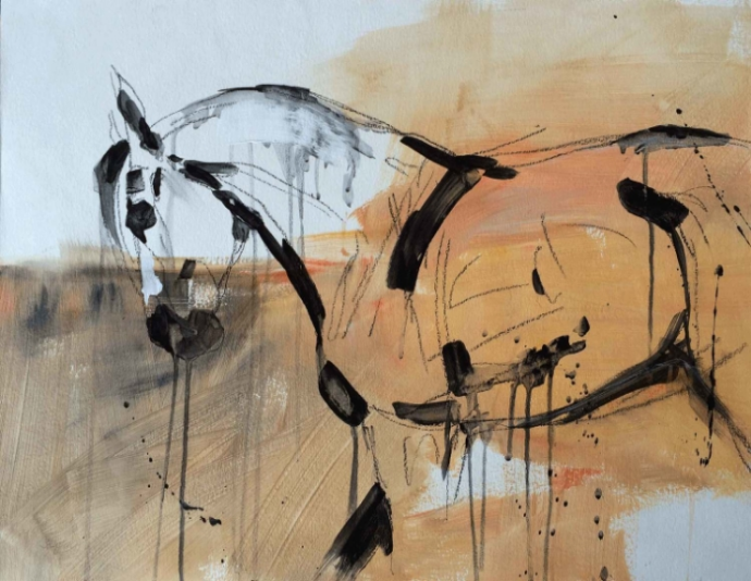 HORSE POWER 5 /  SOLD   24 x 18 x 1.5  Acrylic & Charcoal on Paper on Wood Panel