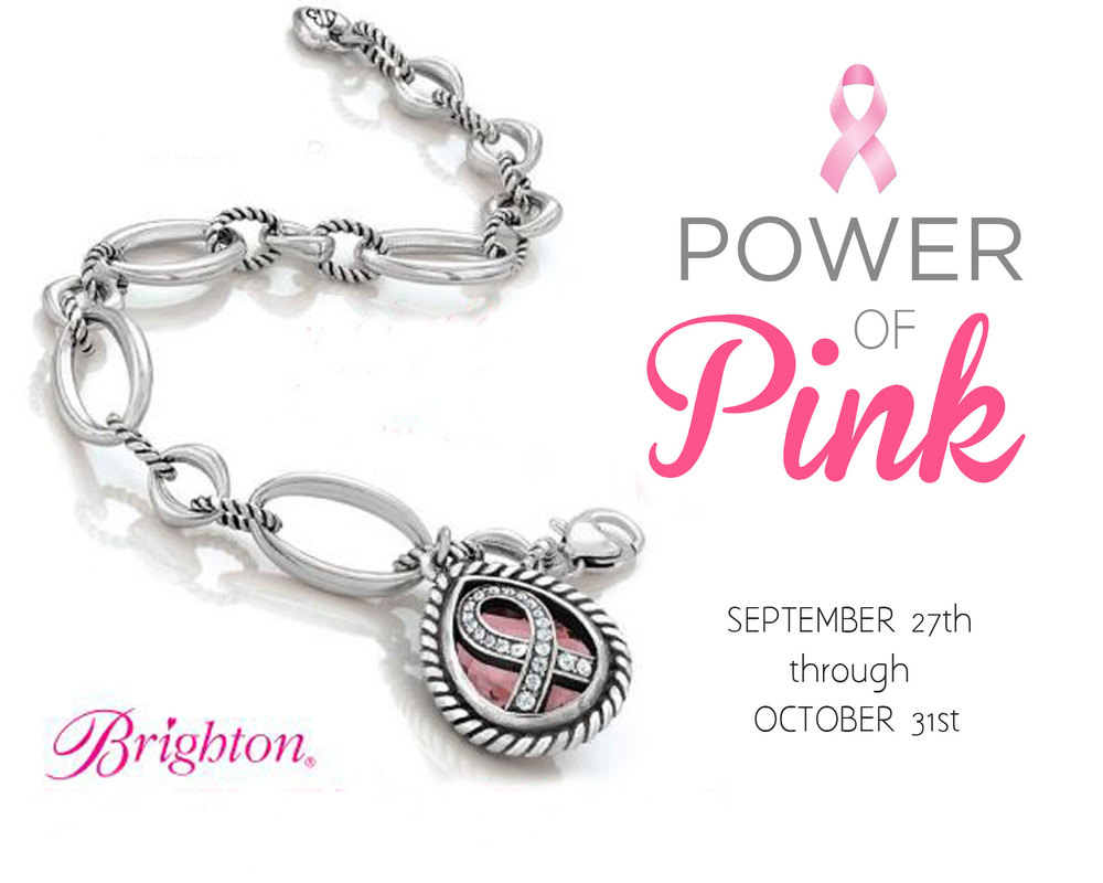 "Brighton's limited edition 2014 Power of Pink bracelet, with a bejeweled ribbon atop a beautiful pear-shaped stone, shows the world you care. A portion of your purchase will be donated to breast cancer charities.   L: 7 1/4"" - 8 1/4"" Adjustable"
