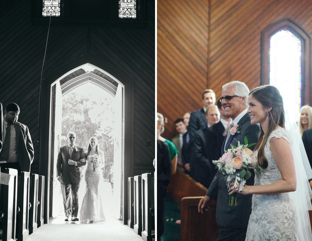 """Seeing his smiling face as I walked down the aisle was a memory I will never forget. I wanted to do a first look because I knew I would be nervous, but Thor held firm on keeping it the traditional way. I was a ball of nerves all day, but I wouldn't trade that moment for the world! I don't think I've ever seen him smile that big!"""