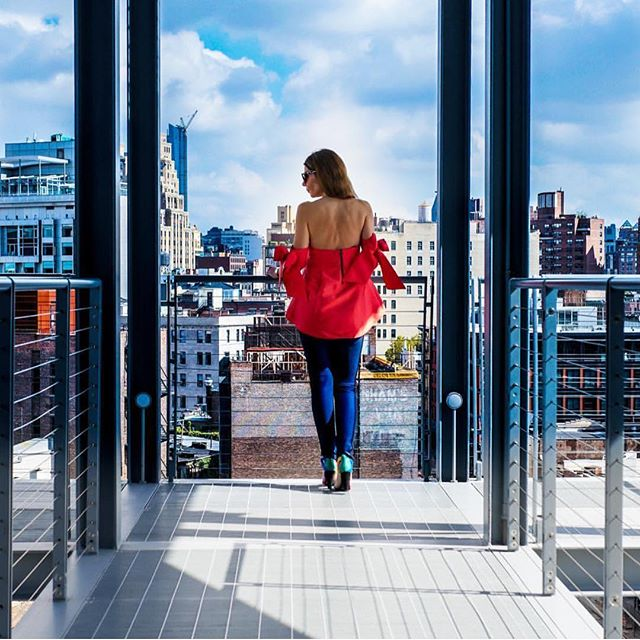 #regram from @mariabrito_ny strolling through the @whitneymuseum in her Benita top 🎀 Back in stock soon! Stay tuned 💕 #Bowtiful #whitneymuseum #nycviews