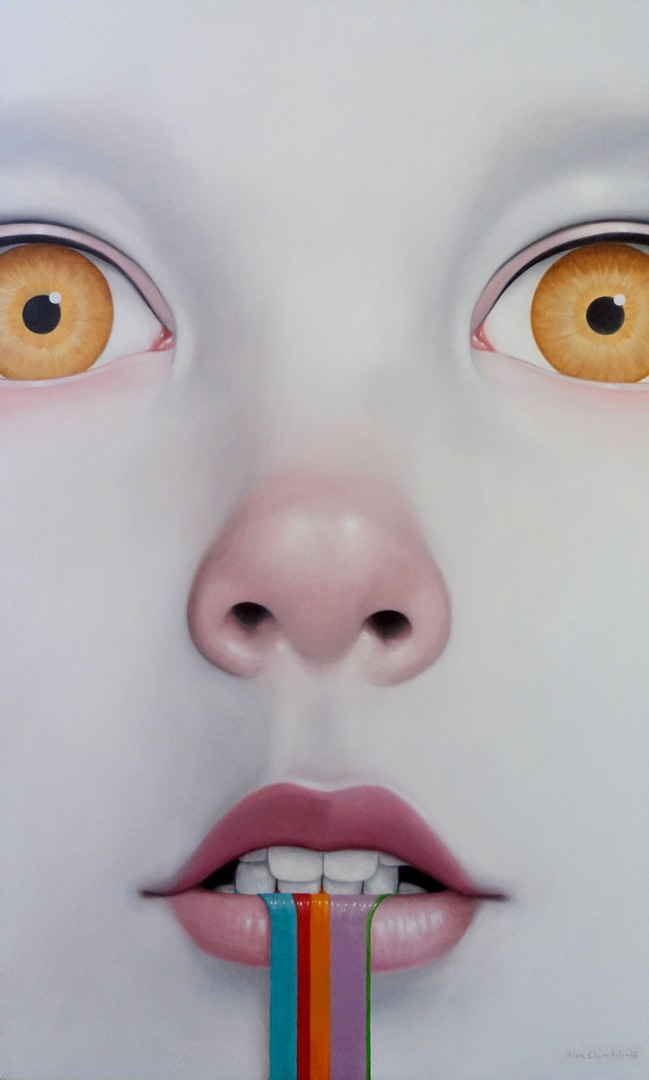 "ALEXANDER CHURCHILL, Amylase of the Uncanny Valley, 2013, oil on canvas, 60"" x 36"""