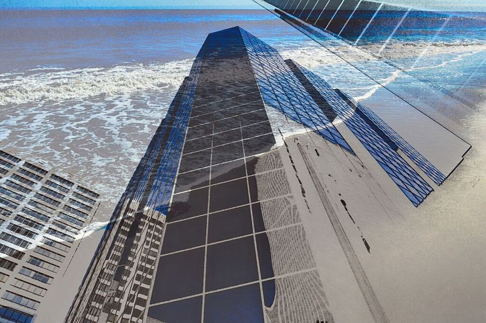 "DAVID GORDON, Building And Ocean, 2015, Archival Digital Print,  24"" × 36"""