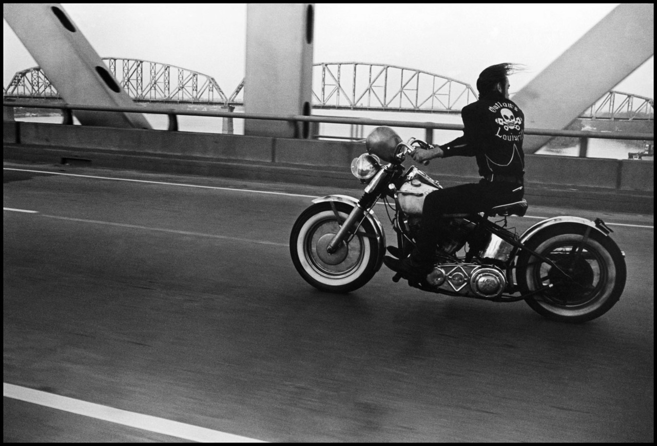 timelightbox :       Crossing the Ohio, Louisville, Ky., 1966     For the past five decades the photographer Danny Lyon has produced a mix of documentary photographs and film—both politically conscious and personal. As the artist turns 70 this year, a coinciding exhibition will open at the Menil Collection in Houston. See more  here .